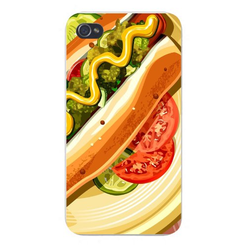 Apple Iphone Custom Case 4 4s White Plastic Snap on - Hot Dog w/ Tomatoes, Relish, & Mustard