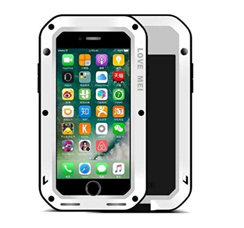 """iPhone 7 Plus 5,5 """"Metallic Strap Case, i-Nings Schwerer wasserdichter, schlagfester, schlagfester Aluminiumlegierungs-Silikon-Stoßfänger mit Gorilla-Glas-Bildschirmfolie für Apple iPhone 7 Plus 5,5 Z White"""