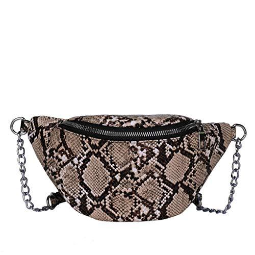 Serpentine Leder (Finebo Umhängetasche Paare Männer und Frauen Casual Fashion Leopard Serpentine Leder Bright Leather Diagonal Bag Hüfttasche Paket (Gelb))