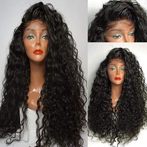 Schwarze lockige synthetische Lace Front Perücke lose Wasser Welle Lace Perücken für Schwarze Frauen 180 Dichte 24 Zoll -