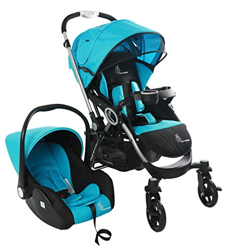 R for Rabbit Travel System - Chocolate Ride - Baby Stroller/Pram + Infant Car seat for Baby/Kids (Blue Black)