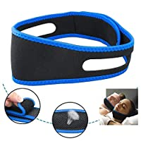 Rubik Anti Snoring Chin Strap Belt, Adjustable Mouth Snore Reduction Straps, Anti Snoring Devices, Advanced Solution Stop Snore Sleep Aid for Women and Men - Blue