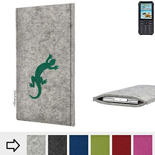 flat.design Handy Hülle FARO für Energizer H20 Made in Germany Handytasche Filz Tasche Case Gecko grün fair
