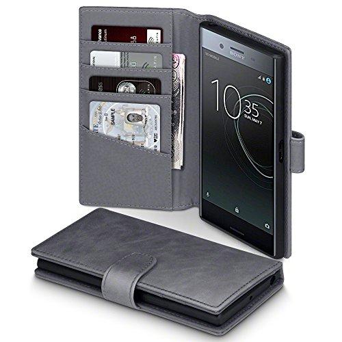 Preisvergleich Produktbild Xperia XZ Premium Hülle, Terrapin [ECHT LEDER] Brieftasche Case Hülle mit Standfunktion Kartenfächer und Bargeld für Sony Xperia XZ Premium Tasche - Grau