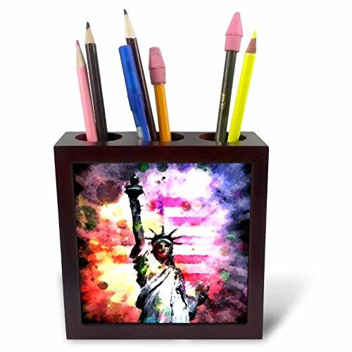 3dRose 243446_ PH 15Patriotische Lady Liberty 'mit Stift Halter -