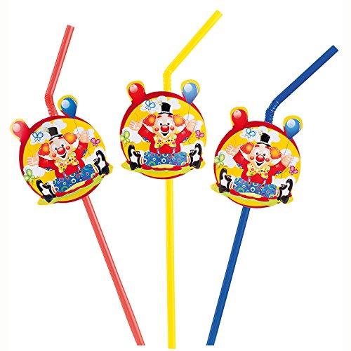 (PARTY DISCOUNT NEU Trinkhalme Clown mit Ballons, 8 Stk. 24 cm)