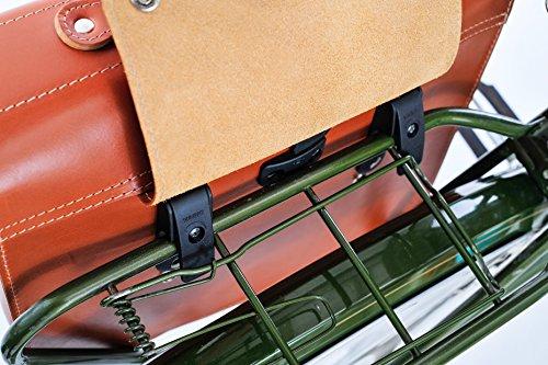 FSBIKE® NOTEBOOK & RIDE Fahrrad Leder Gepäckträger-/Laptop-/Umhängetasche (100% Rindsleder/Premium Juchtenleder Einseitig Tragegurt Handgemacht) Cognac-Premium