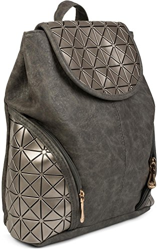 styleBREAKER Rucksack mit geometrischem Prisma Design, Handtasche, Tasche, Damen 02012198, Farbe::Dunkelbraun Dunkelgrau