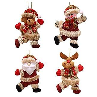 FJROnline – 4 Colgantes de muñeca de Papá Noel para árbol de Navidad, muñeco de Nieve, Oso de Alce con Dibujos Animados, decoración para Colgar en la Ventana