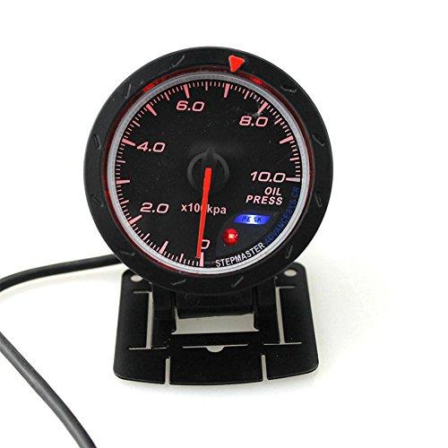 LanLan 60MM Auto Öldruckmesser Ölpresse mit Sensor Halter White & Red Light Car Meter