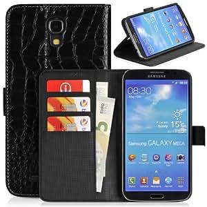 DONZO Wallet Kroko Tasche für Samsung Galaxy Mega 6.3 I9200 I9205 Schwarz