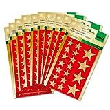 Sigel CS100/10 Weihnachts-Sticker, kleine Sterne gold, 540 Aufkleber - weitere Designs