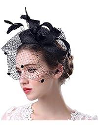 Elecenty Cappello da cerimonia nuziale Fascinator Penny Mesh Hat Nastri e  piume donne regalo di natale 6ac358d857ac