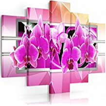 Feeby Frames, Cuadro en lienzo - 5 partes - Cuadro impresión, Cuadro decoración, Canvas (ORQUIDEA, ROSA) 100x150 cm, Tipo A