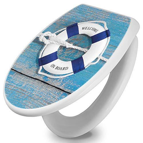 banjado Toilettendeckel mit Absenkautomatik | WC Sitz 42cm x 4cm x 37cm | Klodeckel weiß | Klobrille mit Edelstahl Scharnieren | Toilettensitz mit Motiv Blauer Rettungsring