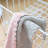 OHQ Pas Gras Nettoyer Chiffon Torchon Serviette De Toilette Essuie-Mains Suspendus Velours Corail Anti-Huile De Cuisine Gris Rose Vert Violet (Gris, 27 * 16cm)