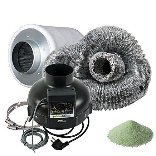 Prima Klima Set (Lüfter 280m3/h mit Thermoregler) Lüftungsset inklusive Aktivkohlefilter Rohrventilator und Schlauch AKF Premium Belüftungsset für Growbox Homebox Darkroom Hydroshoot Grow-Room Inkl Greenception Dünger