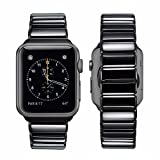 iBazal Apple Watch Series 3 Strap Metal, Apple Watch Band 42mm Stainless Steel Replacement Strap Link Bracelet with Butterfly Clasp for 42mm Apple Watch Series 3/Series 2/Series 1 - Bright Black 42mm