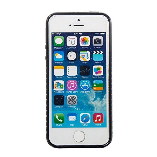 iPhone 5/5S Coque, Voguecase 2 in 1 TPU + PC avec Absorption de Choc, Etui Silicone Souple, Légère / Ajustement Parfait Coque Shell Housse Cover pour Apple iPhone 5 5G 5S SE (marbre-pink clair)+ Gratu marbre-noir