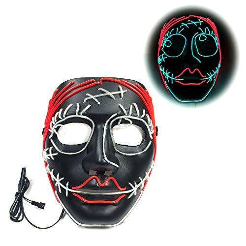 Kostüm Cosplay Domino - Horror Flower Girl Halloween Leuchtende Maske, 3 Arten Von Flash-Modus EL Kaltes Licht Maske FüR Weihnachten Karneval KostüM Cosplay Domino