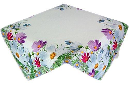 entzückende Pflegeleichte Tischdecke 85x85 cm Eckig Blumenwiese Frühling Sommer Motivdruck Polyester Sommerdecke Gartendecke Gartentischdecke (Mitteldecke 85x85 cm)