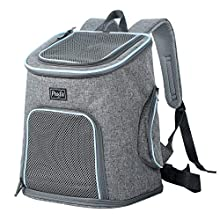 Petsfit Dog Backpack Dog Carrier for Small Dogs Cats Rabbits, Soft-sided Mesh Pup Pack for Outdoor Travelling, Removable Fleece Mat, with Built-in Collar Buckle 30cm x 24cm x 41cm