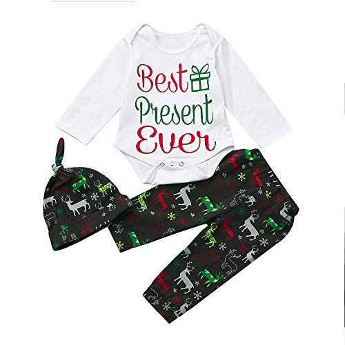 (Neugeborene Babybekleidung Winter Bekleidungssets Babymode Baumwolle Mädchenbekleidung Mädchen Jungen Mädchen Weihnachten Brief Tops + Deer Pants Outfits Kleidung Set Felicove)
