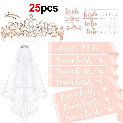 Howaf Rose Gold JGA deko Accessoires für den Junggesellinnenabschied, Tiara + Schärpe + weißer Schleier mit Kamm + JGA Tattoos für Braut to be, Team Braut (Schärpe Tiara Und)