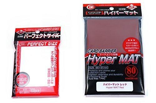 Preisvergleich Produktbild KMC Hyper Mat Sleeve Red (80-Pack) + 100 Pochettes Card Barrier Perfect Size Soft Sleeves Value Set ! by KMC