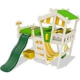 WICKEY Kinderbett mit Rutsche CrAzY Hutty Hochbett mit Dach Abenteuerbett mit Lattenboden, apfelgrün-gelb + grüne Rutsche + weiße Farb