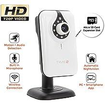 Videocamera di Sorveglianza - Visore Notturno - Rilevatore di Movimenti e Suoni - Notifiche Push per iPhone/Smartphone - Porta SD Card - App gratuita - telecamera di sicurezza - 720P WiFi IP Camera