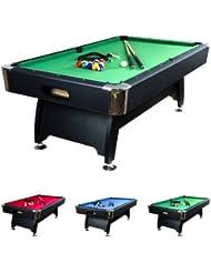 """8 ft Billardtisch """"Premium"""", Korpusfarbe schwarz, 3 Farbvarianten, Maße ca. 2440 x 1320 x 820 mm (LxBxH), massive Ausführung + Zubehör (2x Queue, Kugelset, Dreieck, Kreide, Bürste) Pool Billard 8 Fuß"""