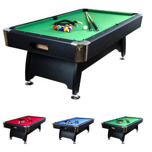 """7 ft Billardtisch """"Premium"""", Korpusfarbe schwarz, 3 Farbvarianten, Maße ca. 2140 x 1220 x 820 mm (LxBxH) massive Ausführung + Zubehör (2x Queue, Kugelset, Dreieck, Kreide, Bürste) Pool Billard 7 Fuß"""
