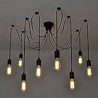 NetBoat Suspension Induistrielle Vintage Rétro Lustres 8 Lampe Plafonnier Luminaire Pendentif pour Éclairage Salon Salle Chambre Décorer Maison Cuisine