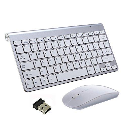 Kabellose Tastaturen und Maus, EONANT 2.4G Tastatur und Maus Combo Set Compact Full-Size-Quiet DPI Einstellbare Maus für Windows, Oberfläche, Android Smart TV-UK-Layout (Silber)
