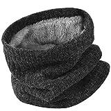 Vbiger Damen&Herren Winter Loop Schal Unisex Warmer Feinstrick Flecht Muster weichem Fleece Innenfutter Schlauchschal,grau