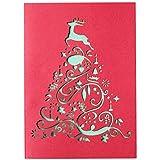 Weihnachtskarten 10er Set 'Santa Lucia',Rot/Grün - Weihnachtsbaum Stanzung, inkl. farbigen Umschlägen, bedruckbare Einleger und Adressetiketten