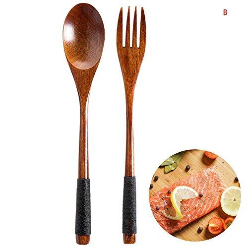 Fashion ER Holz Löffel Gabel langen Griff Besteck Küche Kochen Suppe Bambus Teelöffel Geschirr Utensil umweltfreundlich (B, 1) - Kochen Gabel