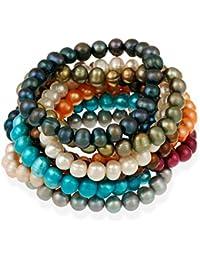 Bracelets extensibles Véritable culture d'eau douce 8x6mm couleur multi perle (Lot de 10 )