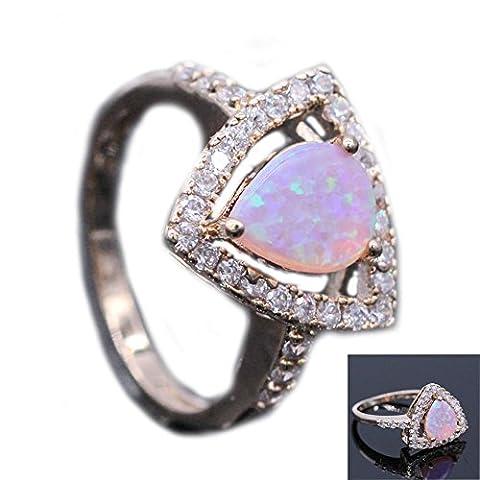 LOVE STUDIO,Ring Art und Weiseverlobungsring 18K Gold überzogene rosafarbene Opal Ring Schmucksachen für Frauen (Ring Size (Opal Gold Überzogenes)