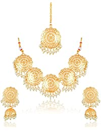 Meenaz Fashion Jewellery Gold Plated Kundan Traditional Pearl Necklace Set For Women Party Wear Wedding Wear Maang...