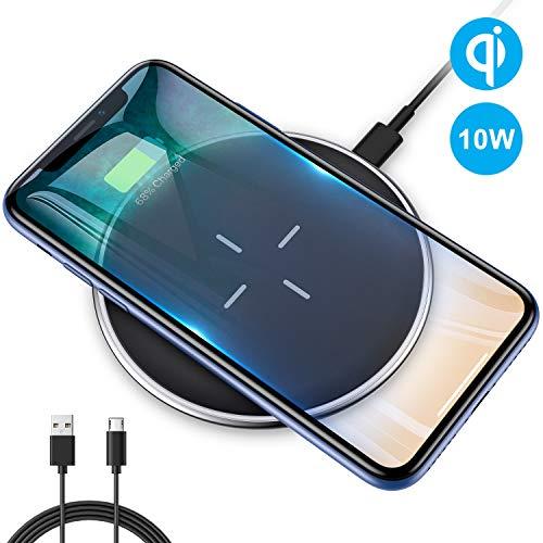 VANMASS Fast Wireless Charger Qi 10W Wireless Ladegerät Schnelle Induktive Ladestation Kabellose für iPhone XS/XR/X/8 Plus/ 8,Samsung Galaxy S10/S10 plus/S9/S9 Plus,LG Nexus und alle Qi-fähige Handys Lg Samsung