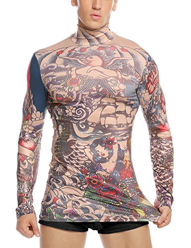 Coofandy Herren Tattoo Shirt Tribal-Tattoo Pullover bunt Tribalshirt Oberteil Tätowierung Kostüm für Party Langarm Halloween Fasnet Fasnacht , farbe - Rot , Gr. XXL