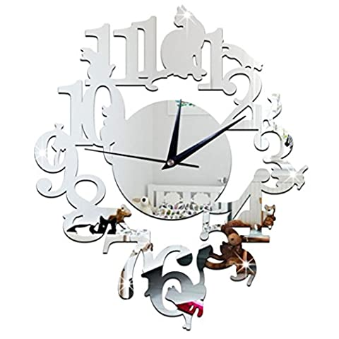 Wall Clocks,Clode® 30x26cm Modern DIY Unique Cat Large Mirror Wall Clock Watch Decor Stickers Set Mirror Effect Acrylic Glass Decal Home Removable Decoration (Silver)