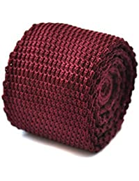 Frederick Thomas plain maroon knitted tie with pointed end 8cm
