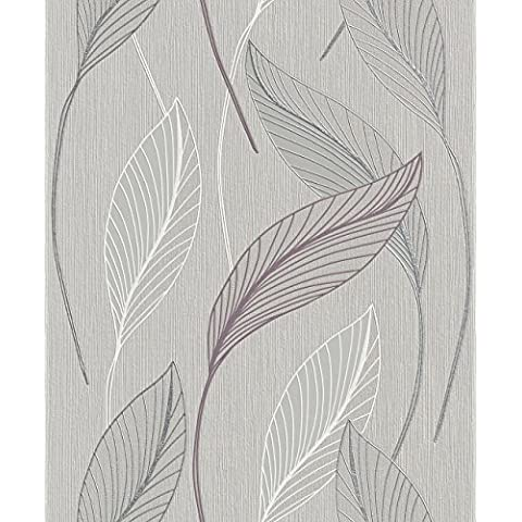 Rasch 2015 Plaisir - Papel pintado para pared, diseño de flores, color gris, blanco y plateado