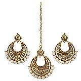 #6: Nishivjewels Metal Gold Oxo Maang Tika And Earrings For Women