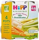 HiPP Biolologique Mes Premiers Légumes 8 saveurs dès 4/6 mois - 16 pots de 125g