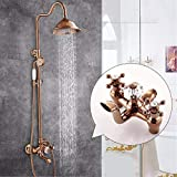 SJQKA-shower system All-Copper European Gold-Plated Antique Jade Diamond Two-Handed Wheel Rose Gold Shower Suit,F