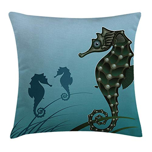 Animal Decor Throw Pillow Cushion Cover by, Seahorse Couple Underwater Creature Miss His Love Algae Artsy Illustration, Decorative Square Accent Pillow Case, 18 X 18 Inches, Green Blue Pink Miss Zebra